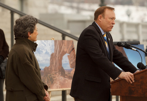 Trent Nelson  |  The Salt Lake Tribune Sen. Jim Dabakis D-Salt Lake City, announced his bill to protect Canyonlands National Park at the Utah Capitol building Tuesday, February 5, 2013 in Salt Lake City. At left is Rep. Patrice M. Arent D-Salt Lake City, the House sponsor of the bill.