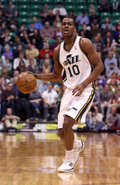 Steve Griffin | The Salt Lake Tribune   Utah's Alec Burks runs the offense from the point guard position during first half action in the Utah Jazz versus the Milwaukee Bucks basketball game at EnergySolutions Arena in Salt Lake City, Utah Wednesday February 6, 2013.