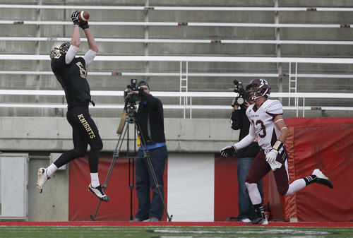 Scott Sommerdorf  |  The Salt Lake Tribune               Lone Peak wide receiver Talon Shumway catches this 7 yard pass for a touchdown in the second half of the 5A semifinal on Nov. 8, 2012. Shumway has committed to play at BYU.