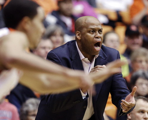 Oregon State head coach Craig Robinson yells from the bench during the first half of an NCAA college basketball game against Utah in Corvallis, Ore., Wednesday, Feb. 6, 2013. (AP Photo/Don Ryan)