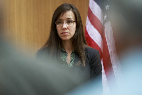 Defendant Jodi Arias prepares to take the witness stand during her murder trial in Judge Sherry Stephens' Superior Court on Wednesday, Feb. 6, 2013.  Arias, 32, is accused of stabbing and slashing Travis Alexander, her lover,  27 times, slitting his throat and shooting him in the head in his suburban Phoenix home in June 2008. She initially denied any involvement, then later blamed it on masked intruders before eventually settling on self-defense.  (AP Photo/The Arizona Republic, Charlie Leight)