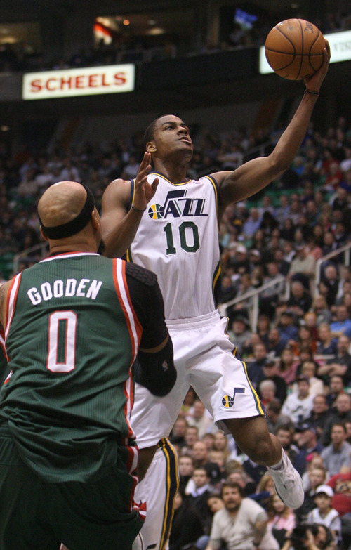 Steve Griffin | The Salt Lake Tribune   Utah's Alec Burks drives to the basket for a layup during first half action in the Utah Jazz versus the Milwaukee Bucks basketball game at EnergySolutions Arena in Salt Lake City, Utah Wednesday February 6, 2013.