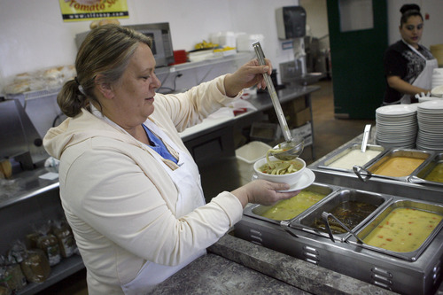 francisco kjolseth the salt lake tribune kathy oaks serves up chicken noodle soup at the - Soup Kitchen Slc