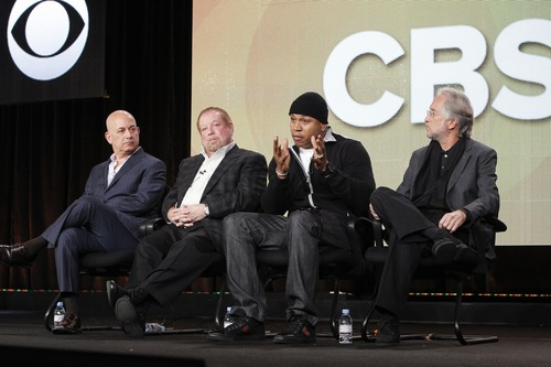 CBS' executive vice president, specials, music and live events, Jack Sussman (left); Grammys executive producer Ken Ehrlich; Grammys host LL Cool J; and Recording Academy president and CEO Neil Portnow. Courtesy photo