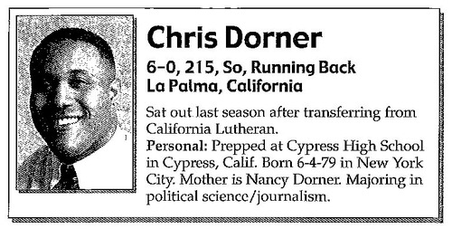 Christopher Dorner's bio from a 1999 media guide for Southern Utah University's football team. The former police officer is wanted in Los Angeles for allegedly killing three people. Courtesy image