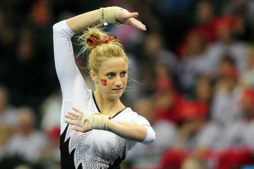 Mary Beth Lofgren during her floor exercise routine at the 2011 Women's NCAA Gymnastics Championship Team Finals on April 16, in Cleveland, OH. (photo/Jason Miller)