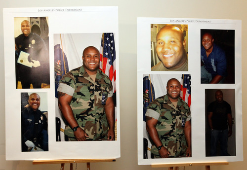 """This undated series of photos released by the Los Angeles Police Department shows suspect Christopher Dorner, a former Los Angeles officer.  Dorner, who was fired from the LAPD in 2008 for making false statements, is linked to a weekend killing in which one of the victims was the daughter of a former police captain who had represented him during the disciplinary hearing. Authorities believe Dorner opened fire early Thursday on police in cities east of Los Angeles, killing an officer and wounding another.  Police issued a statewide """"officer safety warning"""" and police were sent to protect people named in the posting that was believed to be written by Dorner.  (AP Photo/Los Angeles Police Department)"""