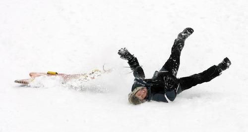 Rick Egan  | The Salt Lake Tribune   Nicholas Guthrie, 12, takes a tumble as he sleds down a hill near Mueller Park Junior High in Bountiful, Saturday, February 9, 2013.