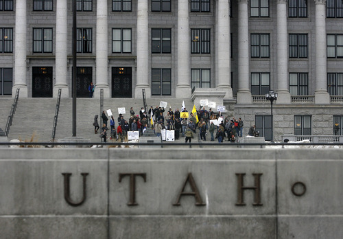 Scott Sommerdorf   |  The Salt Lake Tribune A small pro-guns rally on the south steps of the Utah State Capitol building, Friday, February 8, 2013.