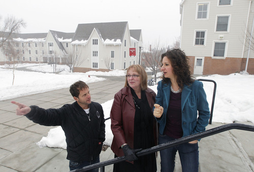 Al Hartmann  |  The Salt Lake Tribune Marci Healy, center, assistant director of summer conferences with the University of Utah Guest House and Conference Center, shows Brad Rasmussen and Carine Henderson the layout of the U.'s residence halls. Rasmussen and Henderson run a company, My Convention Housing, that is arranging to supply 1,000 beds at the college residence halls for the Outdoor Retailer Summer Market trade show.
