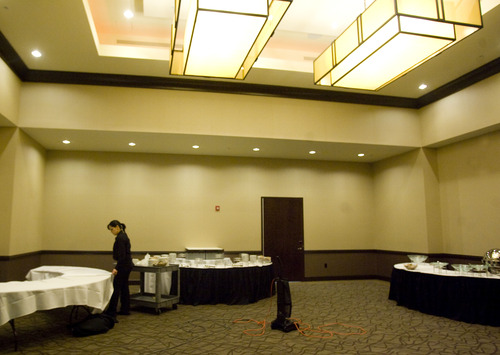Kim Raff     The Salt Lake Tribune Employees set up for a party in the Fairbourne Ballroom in the newly constructed Embassy Suites in West Valley City on Monday.