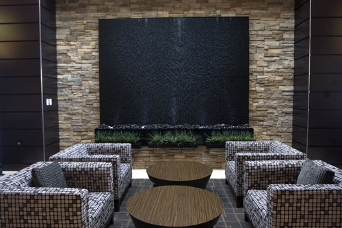 Kim Raff     The Salt Lake Tribune The sitting areas in the lobby of the newly constructed Embassy Suites in West Valley City.