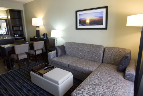 Kim Raff     The Salt Lake Tribune The lounge area in a side by side-style suite at the newly constructed Embassy Suites in West Valley City.