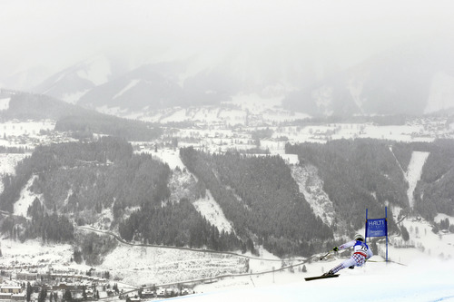 Slovakia's Adam Zampa speeds down the course during training for the men's downhill, at the Alpine skiing world championships in Schladming, Austria, Thursday, Feb.7, 2013. (AP Photo/Alessandro Trovati)