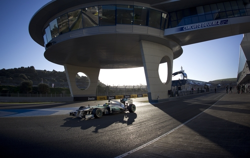 Nico Rosberg of Germany and Mercedes GP drives during a test at the Jerez racetrack in southern Spain, Thursday Feb. 7, 2013. (AP Photo/Miguel Angel Morenatti)