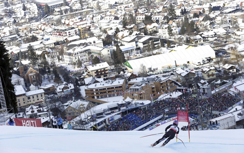 United States' Laurenne Ross speeds down the course during the downhill portion of the women's super-combined, at the Alpine skiing world championships in Schladming, Austria, Friday, Feb.8, 2013. (AP Photo/Alessandro Trovati)
