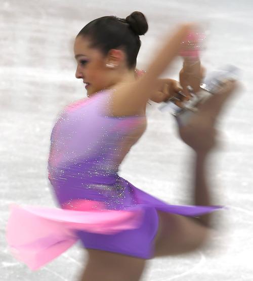 Reyna Hamui of Mexico performs during the women's short program event at the ISU Four Continents Figure Skating Championships in Osaka, western Japan, Saturday, Feb. 9, 2013. (AP Photo/Shizuo Kambayashi)