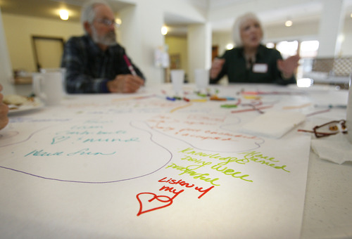 "Scott Sommerdorf   |  The Salt Lake Tribune One of Cher Langley's notes saying ""listen with my heart"" during a ""World Cafe"" workshop put on by the Human Rights Education group to teach people how to find common ground even when divided over religion in Deans Hall at St. Marks Episcopal Church, Saturday, February 9, 2013."