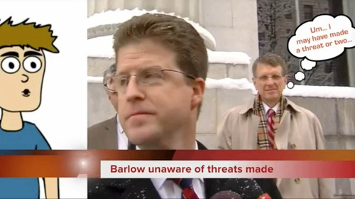 David Barlow and Brent Ward are seen in this screengrab of one of Jeremy Johnson's youtube videos. The video has been taken down.