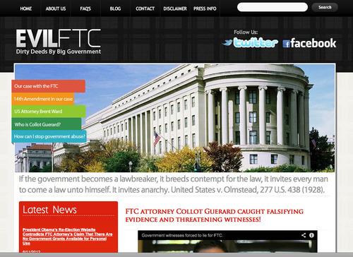 The front page of Jeremy Johnson's website evilftc.com