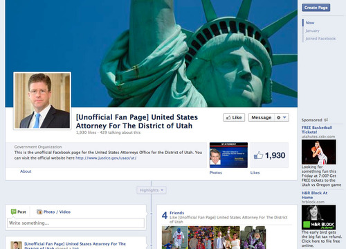 Jeremy Johnson's fake Facebook fan page for U.S. Attorney David Barlow.