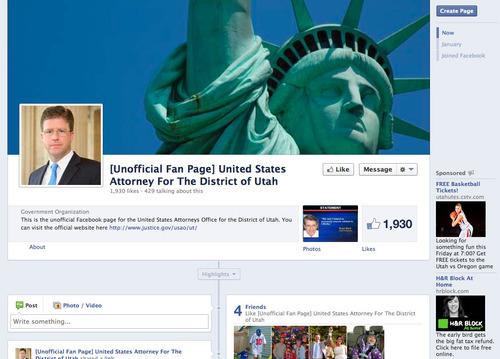 Jeremy Johnson's fake Facebook fan page for U.S. Attorney David Barlow.