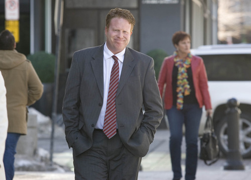 Paul Fraughton  |  The Salt Lake Tribune A seemingly upbeat Jeremy Johnson prepares to enter the federal court building in Salt Lake City.  Friday, February 1, 2013