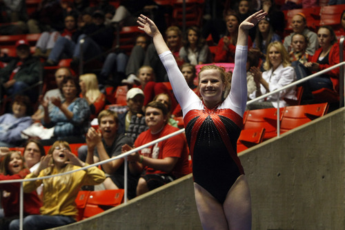 Chris Detrick  |  The Salt Lake Tribune Tory Wilson competes on the vault during the annual Red Rocks gymnastics preview at the Huntsman Center Friday December 7, 2012.