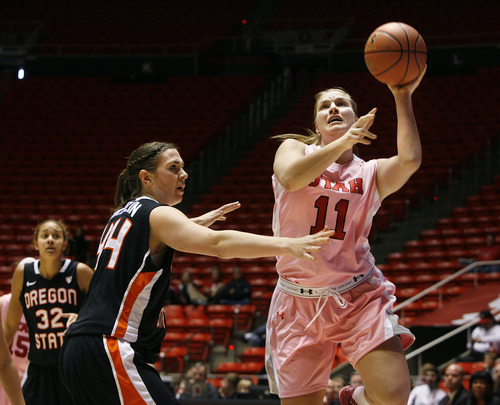 Scott Sommerdorf   |  The Salt Lake Tribune Utah's Taryn Wicijowski goes up for two of her six points in the Utah win over OSU. Utah beat Oregon State 66-40, Sunday, February 10, 2013.