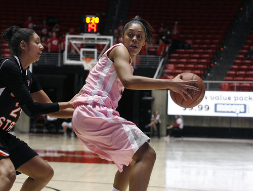 Scott Sommerdorf   |  The Salt Lake Tribune Utah's Iwalani Rodrigues backs the ball down on OSU's Alyssa Martin during second half play. Rodrigues finished with a game-high 18 points as Utah beat Oregon State 66-40, Sunday, February 10, 2013.