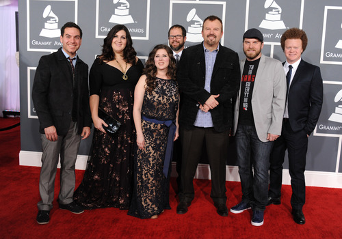 Contemporary Christian musical group Casting Crowns arrive at the 55th annual Grammy Awards on Sunday, Feb. 10, 2013, in Los Angeles.  (Photo by Jordan Strauss/Invision/AP)