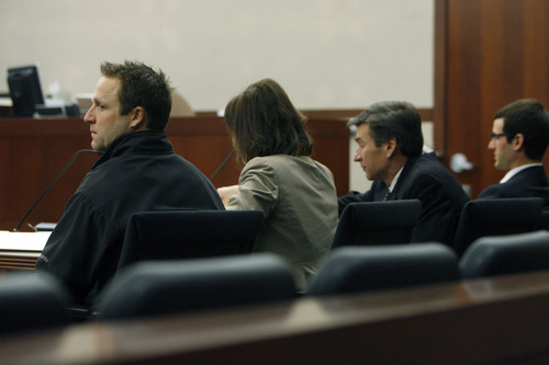 Francisco Kjolseth  |  The Salt Lake Tribune The three-day trial for Robert Cole Boyer, left, and Colton Raines, far right, begins on Monday, Feb. 11, 2013, at Ogden's 2nd District Courthouse with Judge Ernie Jones presiding. Boyer and Raines, represented by Rebecca and Greg Skordas, center, are two of three men charged in a boating accident last summer on Pineview Reservoir that killed swimmer Esther Fujimoto.