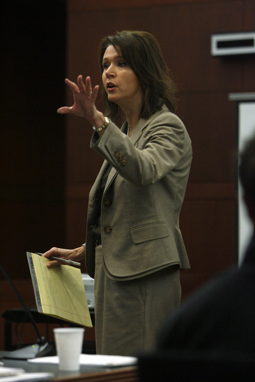 Francisco Kjolseth  |  The Salt Lake Tribune Defense attorney Rebecca Skordas gives her opening statement in the three-day trial for Robert Cole Boyer and Colton Raines on Monday, Feb. 11, 2013, at Ogden's 2nd District Courthouse with Judge Ernie Jones presiding. Boyer and Raines are two of three men charged in a boating accident last summer on Pineview Reservoir that killed swimmer Esther Fujimoto.