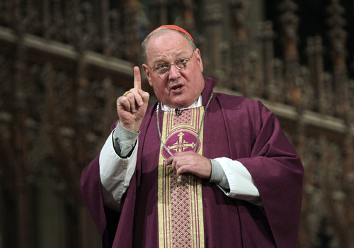 FILE - This Feb. 22, 2012 file photo shows Cardinal Timothy Dolan, of the United States, speaking during mass in St. Patrick's Cathedral on Ash Wednesday, in New York. The resignation of Pope Benedict XVI on Feb. 28, 2013 opens the door to a host of possible successors, from the cardinal of Milan to a contender from Ghana and several Latin Americans. Top candidates from the U.S. include Cardinal Timothy Dolan of New York and Cardinal Raymond Burke, an arch-conservative and the Vatican's top judge. (AP Photo/Seth Wenig, file)