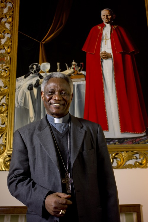 Ghanian Cardinal Peter Kodwo Appiah Turkson poses for a photograph following an interview with the Associated Press, in Rome, Tuesday, Feb. 2013. One of Africa's brightest hopes to be the next pope, Ghanian Cardinal Turkson, says the time is right for a pontiff from the developing world. (AP Photo/Domenico Stinellis)
