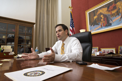 In this Feb. 7, 2013 photo, Sen. Marco Rubio, R-Fla., speaks with The Associated Press in his Capitol Hill office in Washington. In the nearly 100 days since President Barack Obama won a second term, the Florida senator has taken calculated, concrete steps to emerge as a next generation leader of a rudderless party and put a 21st Century stamp on the conservative movement.  (AP Photo/J. Scott Applewhite)