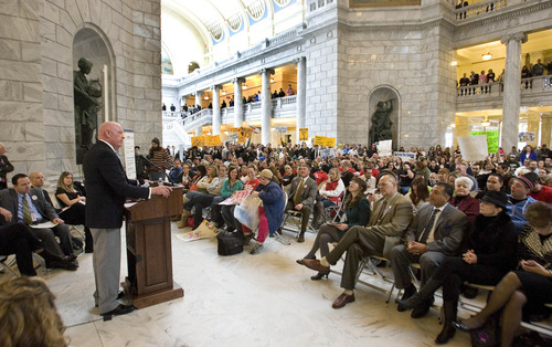 Paul Fraughton  |   Salt Lake Tribune  Senator Howard Stephenson speaks to the hundreds of people filling   the Capitol Rotunda participating in the 5th annual Rally for Recovery. The purpose of the event is to draw awareness to the effectiveness of drug, alcohol and mental health programs  and to urge lawmakers to support funding for recovery programs.