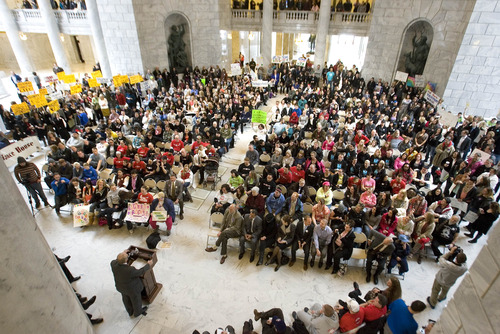 Paul Fraughton  |   Salt Lake Tribune Hundreds of people fill the Capitol Rotunda to listen to speakers at the 5th annual Rally for Recovery. The purpose of the event is to draw awareness to the effectiveness of drug, alcohol and mental health programs  and to urge lawmakers to support funding for recovery programs.