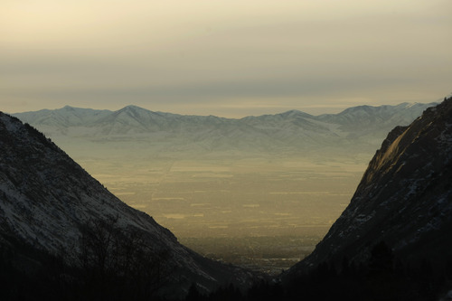 Chris Detrick  |  Tribune file photo The clean-air issue has come into sharper focus because of winter inversion episodes, such as this one seen from Little Cottonwood Canyon. Democratic legislators on Monday unveiled legislation aimed at solving the air pollution problem.