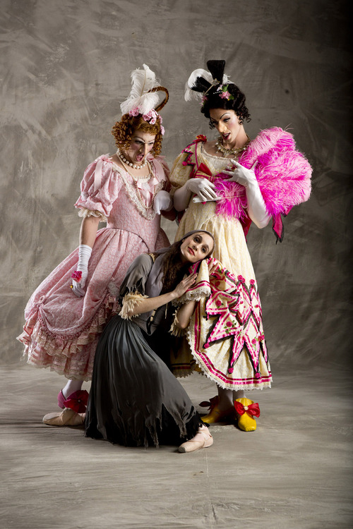 """Ballet West first soloist Arolyn Williams as Cinderella, with principal artist Christopher Ruud and soloist Easton Smith, as cross-dressing stepsisters in Sir Frederick Ashton's """"Cinderella."""" (Courtesy  Erik Ostling)"""