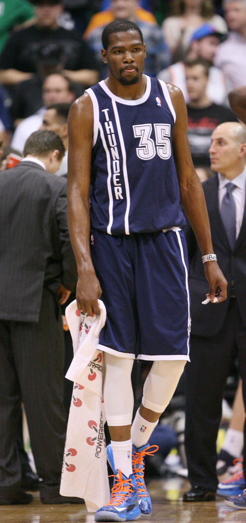 Steve Griffin | The Salt Lake Tribune   The Thunder's Kevin Durant waits for the refs to review his foul on Utah's Alec Burks during a game Tuesday, Feb. 12, 2013. Durant was called for a flagrant foul on the play.