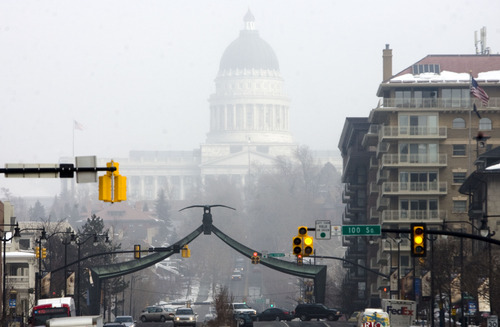 Kim Raff  |  The Salt Lake Tribune The Utah Capitol seen a few blocks away on State Street during an inversion in downtown Salt Lake City on Feb. 4, 2013.