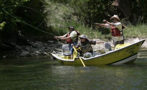 Dan Rioux of Layton, left, Old Moe Guide Service guide Brandon Bertagnole, center, and J.C. Wicks of Layton fly-fish the Green River outside of Dutch John, Utah, Saturday, June 21, 2008 as part of Rivers of Recovery program. Dan Rioux was a Navy diver that suffered a traumatic brain injury and a broken back after he fell from a tug boat onto a barge. J.C. Wicks served 10 years in the Air Force as a crew chief and jet engine mechanic. He served in Kosovo, was in the Khobar Towers in Saudi Arabia when it was bombed in a terrorist attack and also served in Afghanistan before he was medically discharged for bipolar disorder. Rivers of Recovery is a nonprofit organization that specializes in taking disabled veterans on fly-fishing trips on the Green River in hopes of helping the veterans in their recovery. 06/21/2008 Jim Urquhart/The Salt Lake Tribune