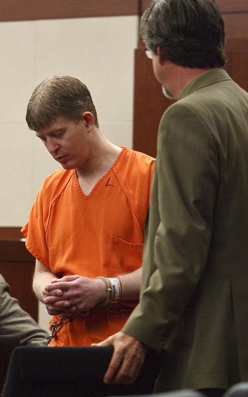 Leah Hogsten  |  The Salt Lake Tribune Matthew David Stewart, 38, pleaded not guilty in Judge Noel Hyde's 2nd District courtroom to all nine counts Wednesday, Nov. 7, 2012, including aggravated murder for killing Ogden police officer Jared Francom.