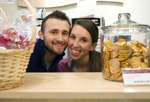 Kim Raff  |  The Salt Lake Tribune Matt Canaday and Allie Humphrey, who met in 2011 at Missouri Western State University, opened their Rocky Mountain Chocolate Factory franchise last fall.