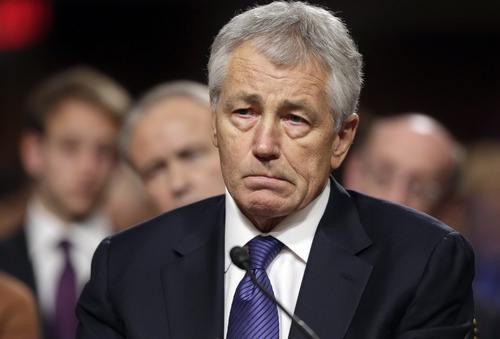 FILE - In this Jan. 31, 2013, file photo, Republican Chuck Hagel, President Obama's choice for Defense Secretary, testifies before the Senate Armed Services Committee during his confirmation hearing on Capitol Hill in Washington. Senate Republicans on Feb. 14, 2013, temporarily blocked a full Senate vote on Hagel's nomination as defense secretary.(AP Photo/J. Scott Applewhite, File)