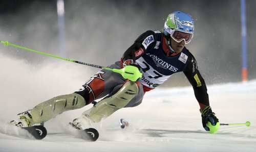 United States' TedLigety competes during the slalom portion of the men's super-combined, at the Alpine skiing world championships in Schladming, Austria, Monday, Feb.11, 2013. Ligety won the gold medal. (AP Photo/Luca Bruno)