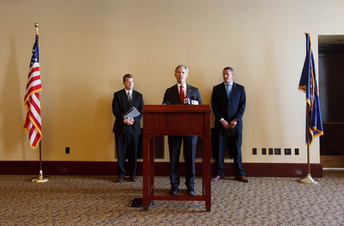 Trent Nelson  |  The Salt Lake Tribune Salt Lake City Mayor Ralph Becker made a call for action to improve air quality on Thursday in Salt Lake City. Becker is flanked by Ryan Evans, left, Salt Lake Chamber vice president of business and community relations, and Ogden Mayor Mike Caldwell.