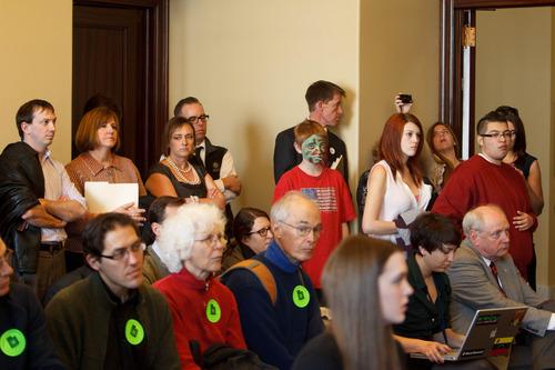 Trent Nelson  |  The Salt Lake Tribune People listen to Salt Lake City Mayor Ralph Becker's call for action to improve air quality on Thursday in Salt Lake City.