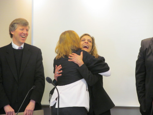 State Records Committee member Patricia Smith-Mansfield hugs former committee member Betsy Ross during Thursday's State Records Committee, where Ross was honored for her 18 years of service on the committee.